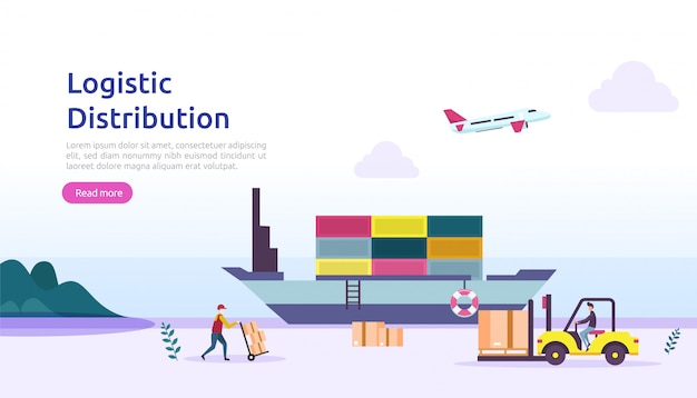 Global logistic distribution service illustration concept. delivery worldwide import export shipping banner with people character for web landing page, presentation, social, poster or print media