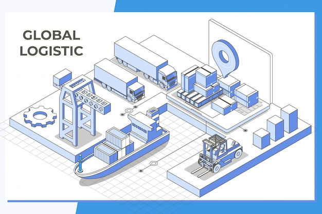 Global logistic service modern isometric line