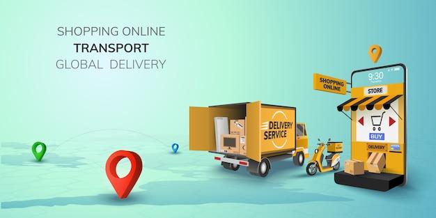 Цифровой интернет-магазин global logistic truck van scooter черный желтый доставка на телефон, мобильный сайт фон. концепция для местоположения, покупки продуктов питания, коробка доставки. 3d иллюстрация копировать пространство