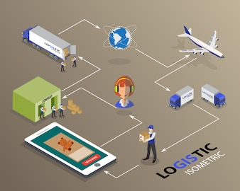Global logistics network Flat 3d isometric vector illustration Set shipping On-time delivery