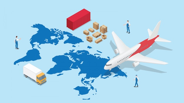 Global logistics network with world map and transportation plane and truck container with modern isometric style