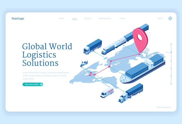 Global logistics solutions isometric landing page