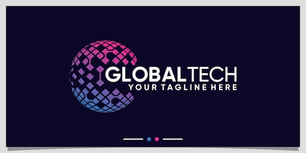 Global logo design technology for business company with unique concept premium vector
