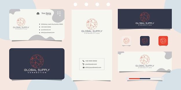 Глобальный дизайн логотипа с кругом соединенных точек в качестве сети и визитной карточки