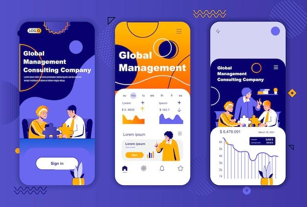 소셜 네트워크 스토리를위한 글로벌 관리 모바일 앱 화면 템플릿
