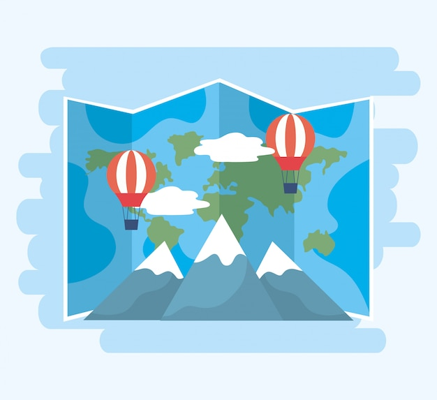 Global map with air balloons and snowy mountains