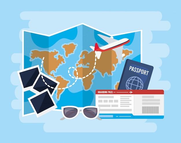 Глобальная карта с самолетом и паспорт с билетами