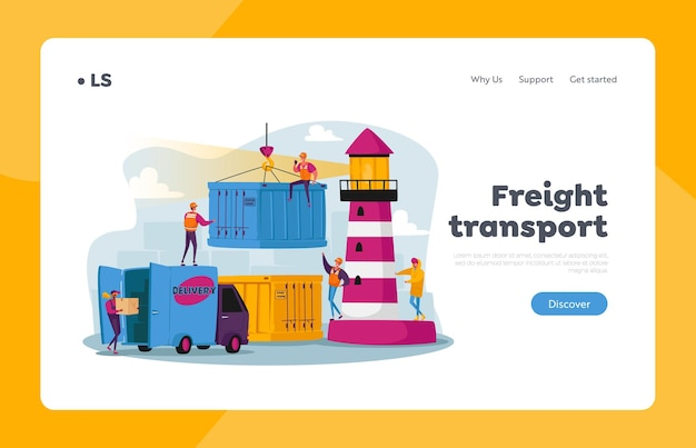 Global maritime logistic landing page template. characters work in seaport load cargo, shipping port with harbor crane load containers