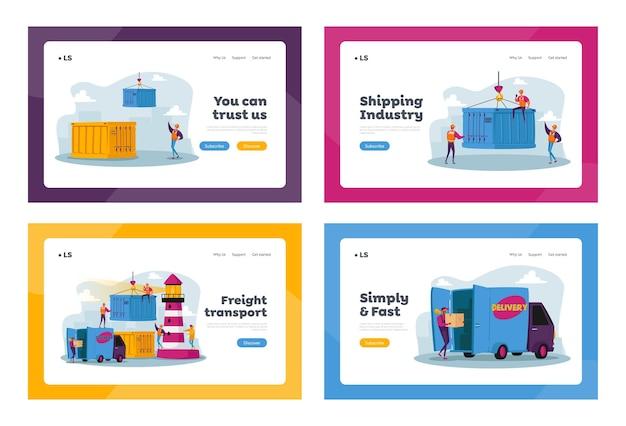 글로벌 해양 물류 방문 페이지 템플릿 세트. 캐릭터는 항구 크레인화물 컨테이너가있는 항구화물, 선적 항구에서 작업
