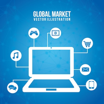 Global marketing icons over blue background vector illustration