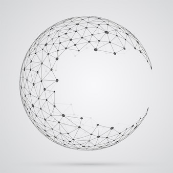 Global mesh sphere, abstract geometric shape with spherical seve