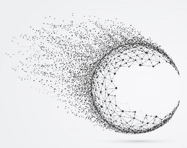 Global mesh sphere with particles.
