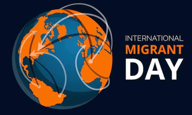 Global migrant day  banner, cartoon style