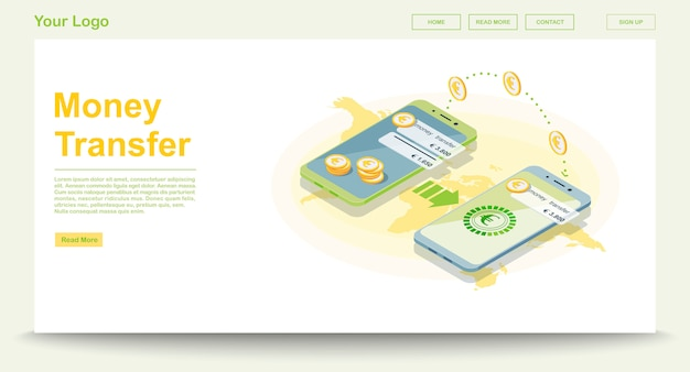Global money transfer web page template