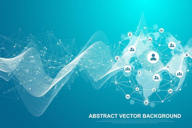 Деловые связи в глобальной сети. концепция сетевого подключения. глобальные сетевые соединения с точками и линиями. визуализация глобального бизнеса. векторные иллюстрации.