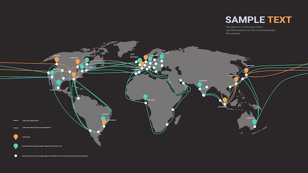 グローバルネットワークケーブル接続および情報転送システム世界地図技術