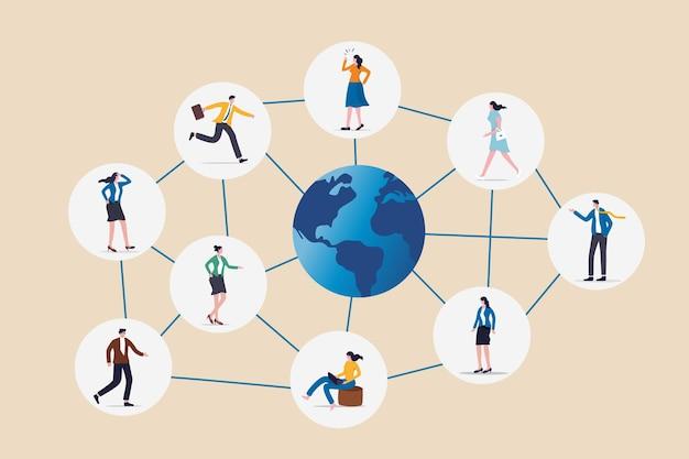글로벌 네트워크 커뮤니티, 전 세계의 해외 또는 원격 작업, 소셜 미디어 또는 작업 네트워킹, 사람들을 연결하거나 연결하는 개념, 비즈니스 사람들은 전 세계의 라인과 연결합니다.
