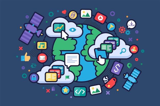 Иллюстрация концепции глобальной сети интернет интернет и цифровые технологии