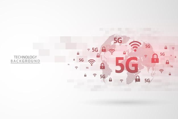 グローバルネットワーク接続。抽象的な背景技術のグラフィックデザイン。 5gネットワークワイヤレスシステムとインターネット。ビッグデータ。グローバルネットワーク高速接続データレート技術