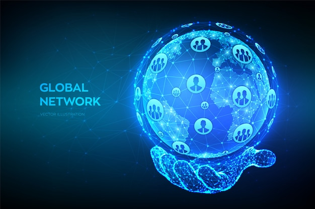 Global network connection. abstract low polygonal planet earth in hand.