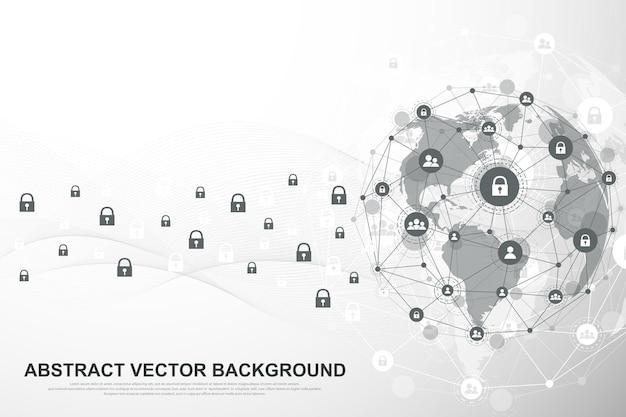 글로벌 네트워크 연결 배경입니다. 사이버 보안 개념 글로벌 비즈니스입니다. 인터넷 통신 배경입니다. 기술 그래픽 디자인입니다. 벡터 일러스트 레이 션.