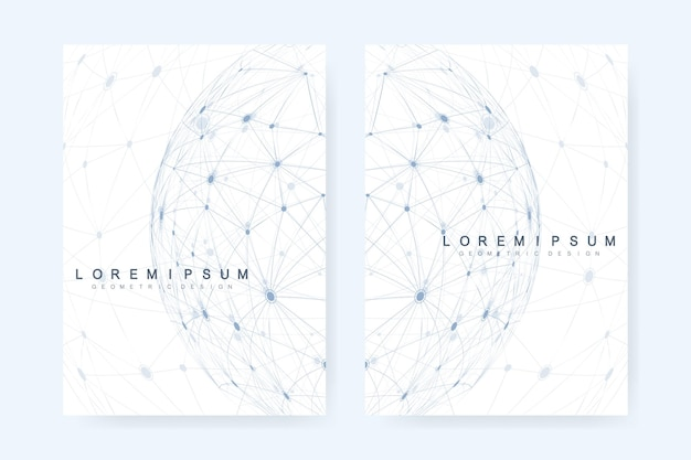 글로벌 네트워크 연결 배경입니다. 세계 지도 점 및 선 구성입니다. 글로벌 비즈니스. 소셜 네트워크. 4 표지, 브로셔, 전단지, 소책자, 잡지, 연례 보고서에 대한 비즈니스 벡터 템플릿.