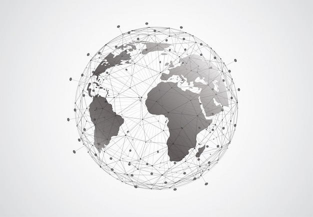 Global network connection background. world map point and line composition