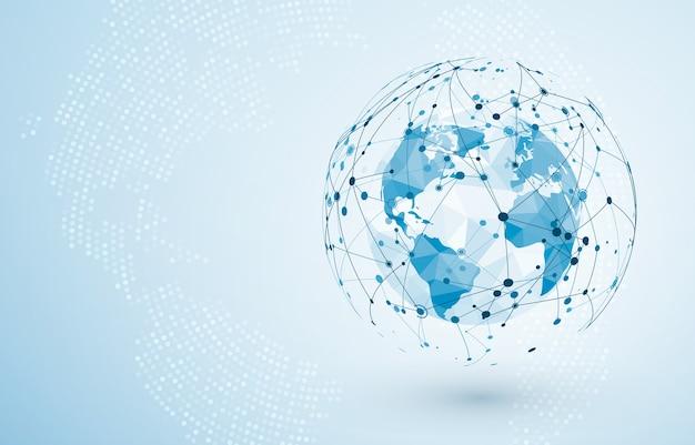グローバルネットワーク接続。ビッグデータまたはグローバルソーシャルネットワーク接続。グローバルビジネスの低多角形の世界地図の点と線の概念。