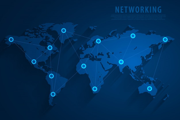Global network connection blue background