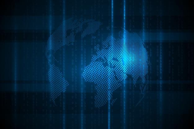 Глобальная сеть связи. бизнес-концепция и интернет-технологии. технология фон. иллюстрация