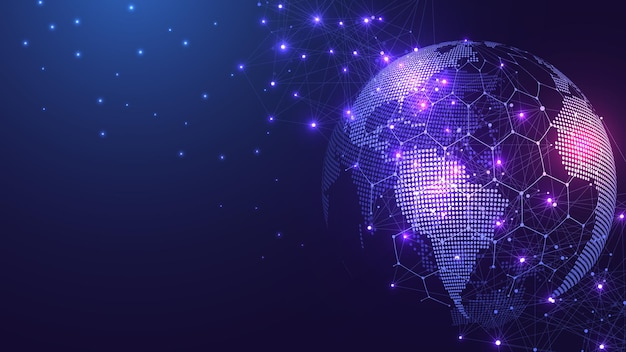 Global network connection concept big data visualization social network communication in the global ...
