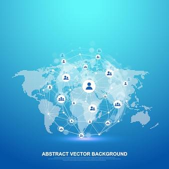 グローバルネットワーク接続の概念。ビッグデータの視覚化。グローバルコンピュータネットワークにおけるソーシャルネットワーク通信。インターネット技術。ビジネス。理科。ベクトルイラスト。