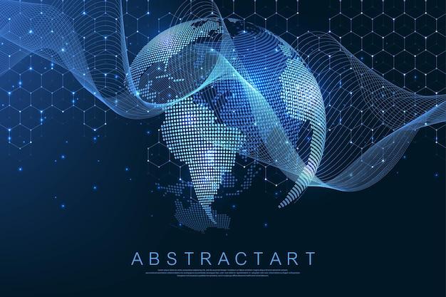 Концепция подключения к глобальной сети. визуализация больших данных. социальное сетевое общение в глобальных компьютерных сетях. интернет-технологии. бизнес. наука. векторная иллюстрация
