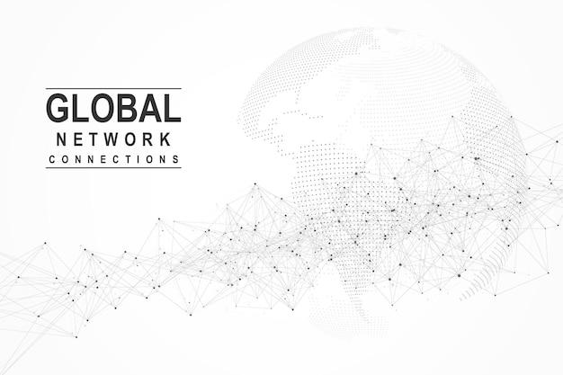 글로벌 네트워크 연결 개념입니다. 빅 데이터 시각화. 글로벌 컴퓨터 네트워크에서 소셜 네트워크 통신. 인터넷 기술. 사업. 과학. 벡터 일러스트 레이 션