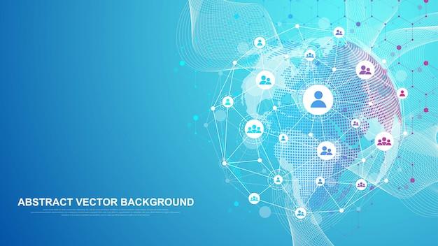 글로벌 네트워크 연결 개념. 빅 데이터 시각화. 글로벌 컴퓨터 네트워크의 소셜 네트워크 통신. 인터넷 기술. 사업. 과학.