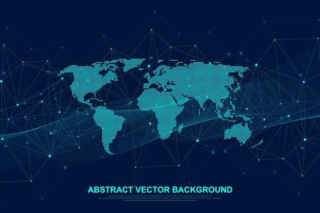 Концепция подключения к глобальной сети. визуализация больших данных. социальное сетевое общение в глобальных компьютерных сетях.