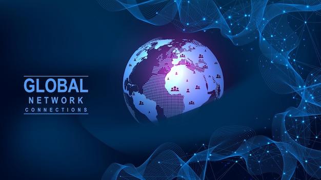 グローバルネットワーク接続の概念。ビッグデータの視覚化。グローバルコンピュータネットワークにおけるソーシャルネットワーク通信。