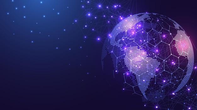 글로벌 네트워크 연결 개념 글로벌에서 빅 데이터 시각화 소셜 네트워크 통신 ...