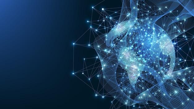 Концепция подключения к глобальной сети. визуализация больших данных. общение в социальных сетях. интернет-технологии.