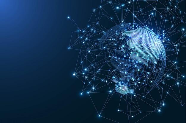 Концепция глобальной сети связи. визуализация больших данных. социальная сеть общения.