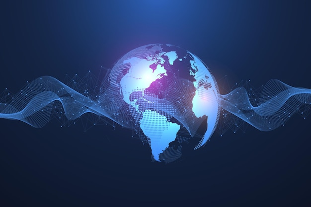 Global network connection concept. big data visualization social network communication