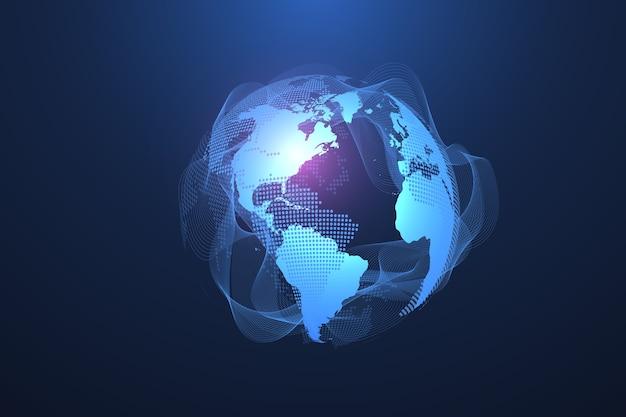 Концепция подключения к глобальной сети. визуализация больших данных.