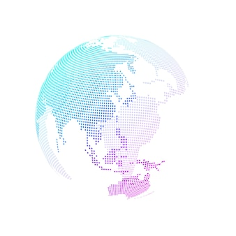 글로벌 네트워크 연결 개념. 빅 데이터 시각화.