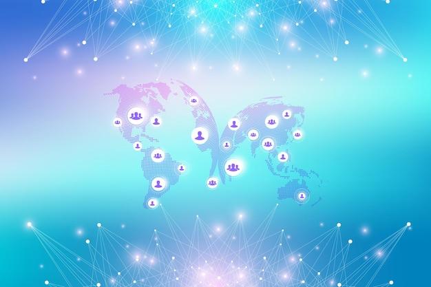 글로벌 네트워크 연결. 연결된 선과 점이 있는 기하학적 추상 배경. 프레젠테이션을 위한 네트워크 및 연결 배경. 그래픽 다각형 배경입니다. 벡터 일러스트 레이 션.