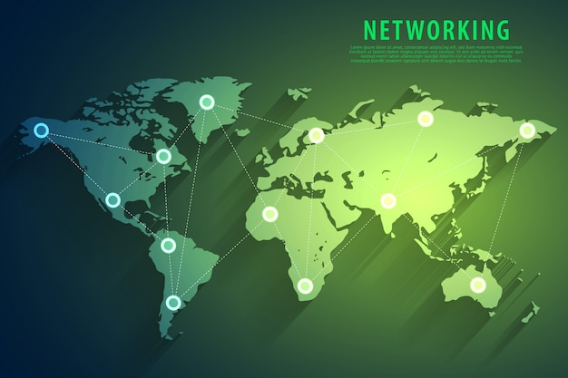 Global network connection green background
