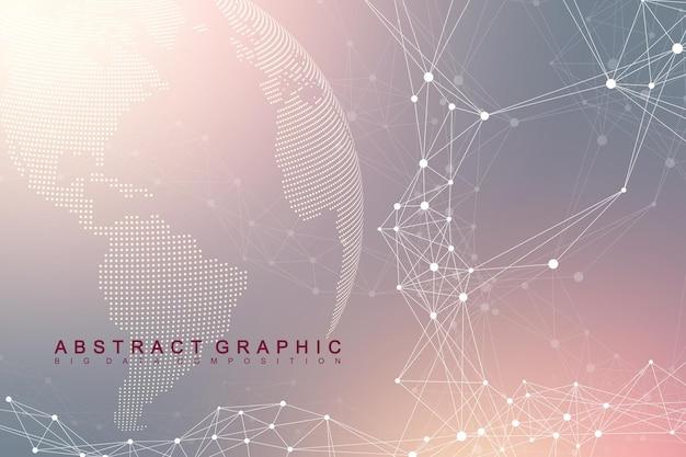 グローバルネットワーク接続。宇宙の惑星地球上でのネットワークとビッグデータの交換。グローバルビジネス。ベクトルイラスト。