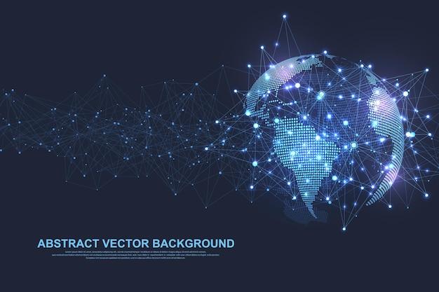 Социальная концепция подключения к глобальной сети. визуализация больших данных. сетевое общение. интернет и технологии. бизнес векторные иллюстрации.