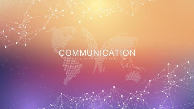 グローバルネットワーク接続。グローバルビジネスにおけるソーシャルネットワークコミュニケーション。世界地図のポイントとラインの構成の概念。ベクトルイラスト。