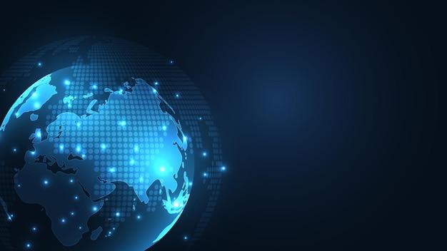 Глобальное сетевое соединение карта мира абстрактные технологии фон глобальная бизнес-концепция инноваций
