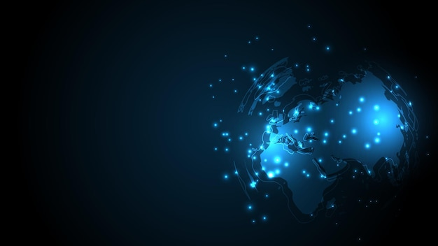 Global network connection world map abstract technology background global business innovation